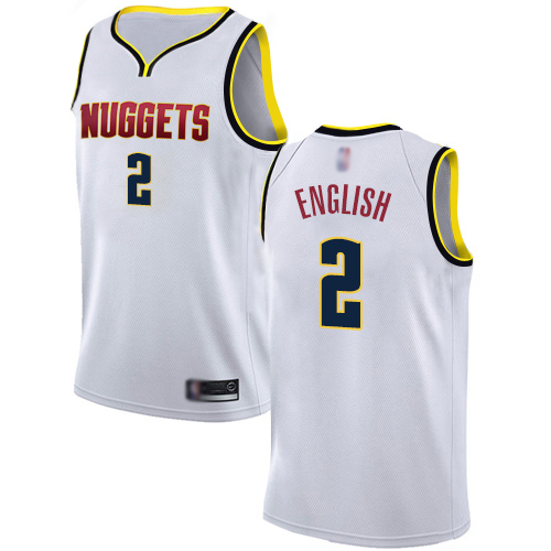 Authentic Men's Alex English White Jersey - #2 Basketball Denver Nuggets Association Edition