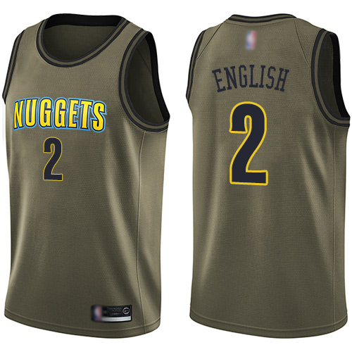 Swingman Men's Alex English Green Jersey - #2 Basketball Denver Nuggets Salute to Service