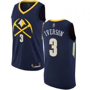 Authentic Men's Allen Iverson Navy Blue Jersey - #3 Basketball Denver Nuggets City Edition
