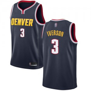 Authentic Men's Allen Iverson Navy Blue Jersey - #3 Basketball Denver Nuggets Icon Edition