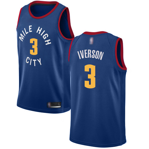 Authentic Women's Allen Iverson Blue Jersey - #3 Basketball Denver Nuggets Statement Edition