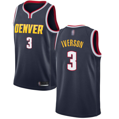 Authentic Women's Allen Iverson Navy Blue Jersey - #3 Basketball Denver Nuggets Icon Edition