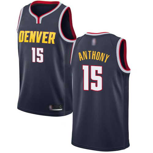 Authentic Men's Carmelo Anthony Navy Blue Jersey - #15 Basketball Denver Nuggets Icon Edition