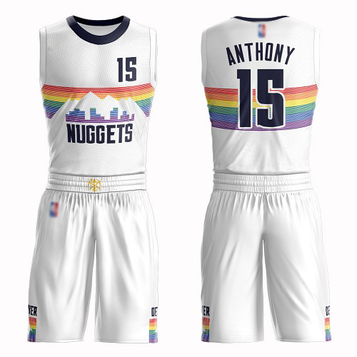 Authentic Men's Carmelo Anthony White Jersey - #15 Basketball Denver Nuggets Suit City Edition