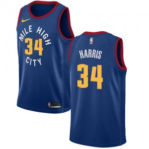 Authentic Men's Devin Harris Blue Jersey - #34 Basketball Denver Nuggets Statement Edition