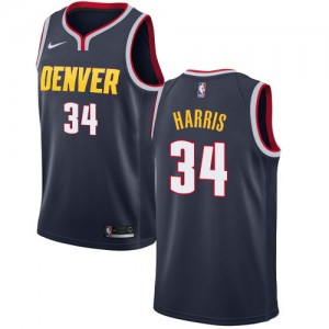 Authentic Men's Devin Harris Navy Blue Jersey - #34 Basketball Denver Nuggets Icon Edition