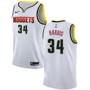Authentic Men's Devin Harris White Jersey - #34 Basketball Denver Nuggets Association Edition