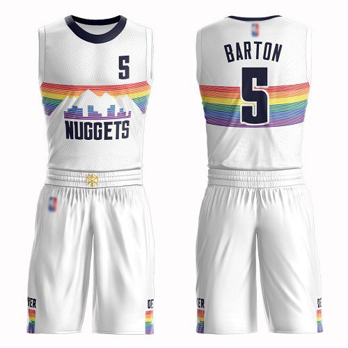 Authentic Men's Will Barton White Jersey - #5 Basketball Denver Nuggets Suit City Edition